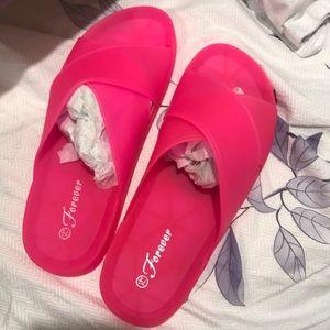 Hot pink matte gelly slip ons